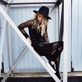 pants maniere de voir track pant organza zips mesh black leggings