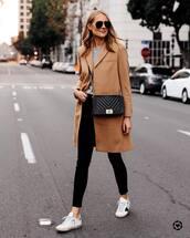 coat,wool coat,jeans,black jeans,skinny jeans,sneakers,crossbody bag,aviator sunglasses