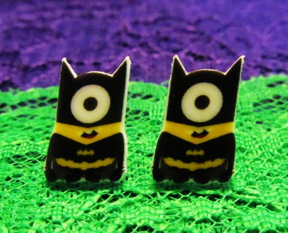 Batman minion inspired batman minion stud earrings despicable me...