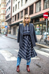 dress,tumblr,midi dress,jeans,blue jeans,stripes,striped dress,blazer,grey blazer,boots,burgundy shoes,sunglasses,streetstyle,frayed denim,fall outfits,office outfits,trendy,outfit idea