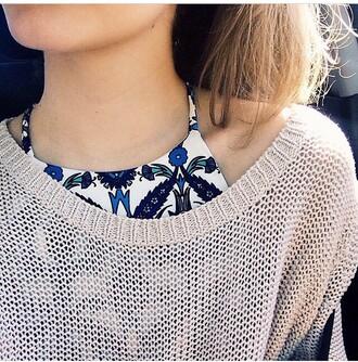 tank top halter top floral tank top floral top floral crop top blue flowers halter crop top sweater