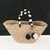 bag,pompom bag,basket bag,black and white pompom,pom poms,pompom basket bag,basket tote,straw bag,beach bag