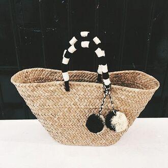 bag pompom bag basket bag black and white pompom pom poms pompom basket bag basket tote straw bag beach bag