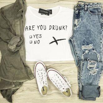 t-shirt denim jeans ripped jeans boyfriend jeans cardigan
