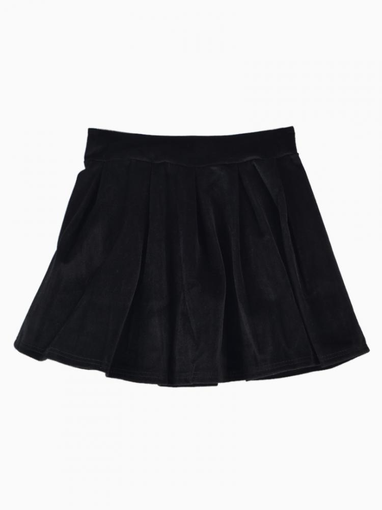 Velvet Pleated Skirt In Black | Choies