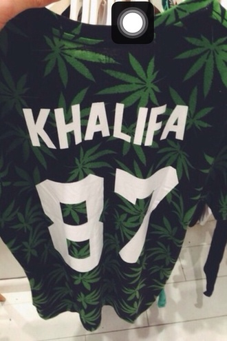 shirt weed varsity khalifa 87 black green black and green