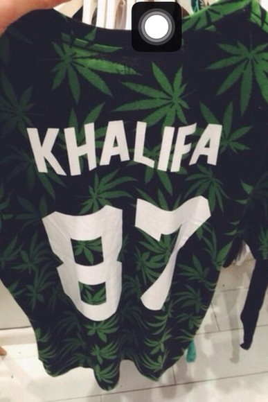 varsity shirt black weed khalifa 87 green black and green