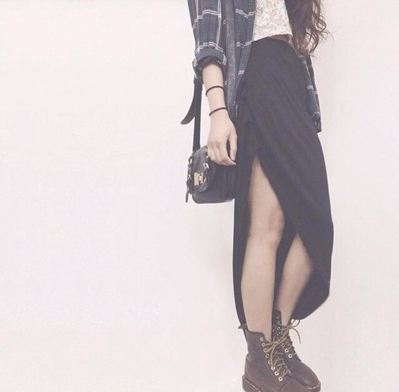 clock skirt maxi skirt long skirt grey DrMartens shirt