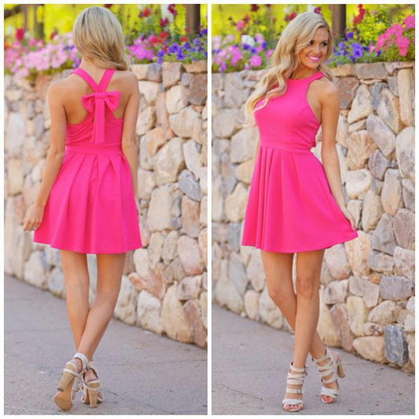 Dress: pink, pink dress, hot pink dress, shoes, heels, neon pink ...