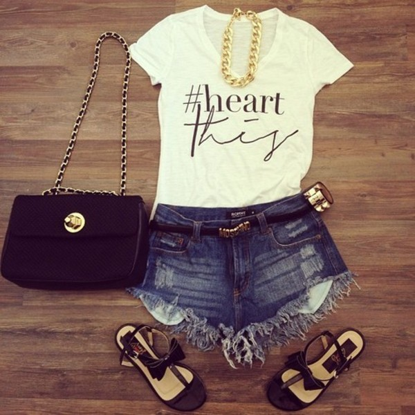 shorts jewels shirt bag shoes