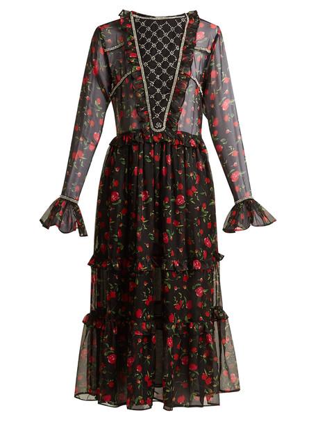 DODO BAR OR Roberta embellished floral-print chiffon dress in black / red