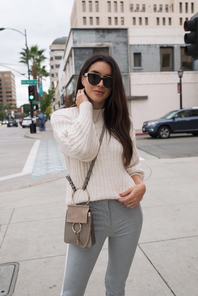 sweater tumblr knit knitwear knitted sweater white sweater pants grey pants bag sunglasses crossbody bag
