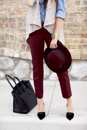 pants,burgundy pants,burgundy hat,watch,knitted cardigan,denim shirt,bag,jacket,hat,shirt