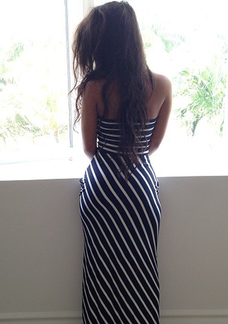 dress stripes white blue maxi dress