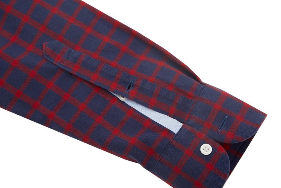 Rhodes Collar Oxford Slim - Red & Navy Tattersall