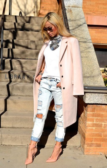 jeans ripped jeans torn jeans light blue shoes boyfriend jeans blogger