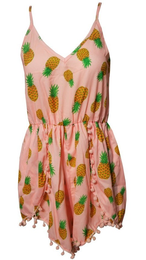 Outletpad | Pon Pon Print Pineapple Jumpsuit Orange | Online Store Powered by Storenvy