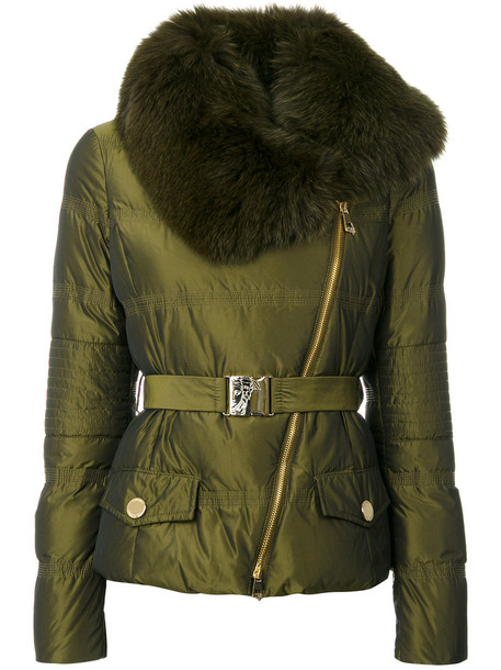 Versace Collection coat fur fox women green