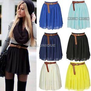 Womens Vintage Elastic High Waist Pleated Double Layer Chiffon Mini Skirts Dress | eBay