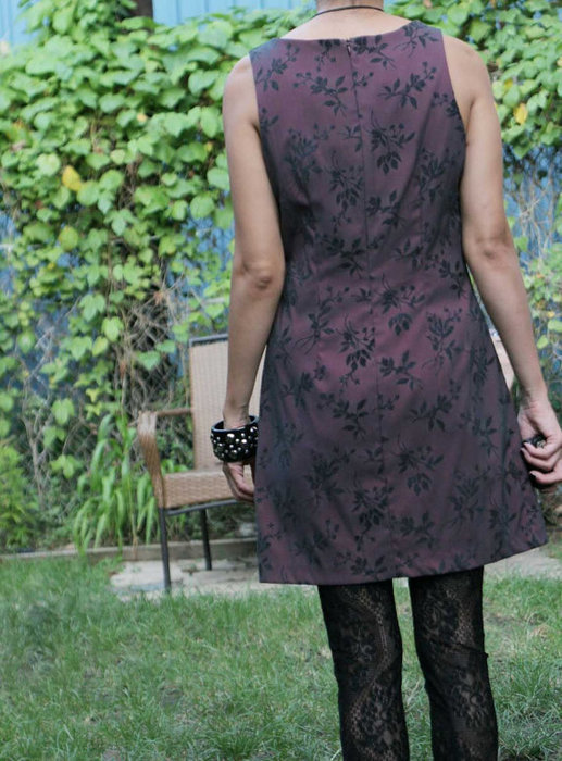 Womens 90s grunge Dark Maroon Leaf Print Dress