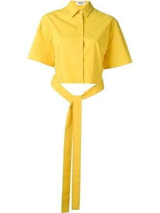 shirt cropped shirt cropped yellow orange top