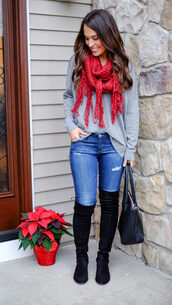 mrscasual,blogger,shoes,scarf,sweater,jeans,bag,grey sweater,thigh high boots,handbag,fall outfits