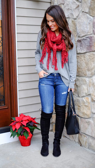 mrscasual blogger shoes scarf sweater jeans bag grey sweater thigh high boots handbag fall outfits
