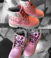 shoes,pink,leopard print,suede,timberlands,spikes,custom,new,hot,pink timberlands,custom timberlands
