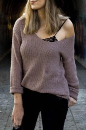 sweater,gamiss,off the shoulder,off the shoulder sweater,lace up,lace,knitwear,knitted cardigan,streetwear,purple sweater