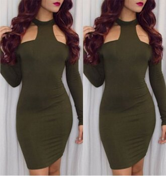 dress green trendy long sleeves attractive round collar shoulder hollow out solid color bodycon dress for women party sexy fashion style
