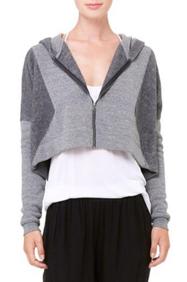zip crop tops jacket hoodie