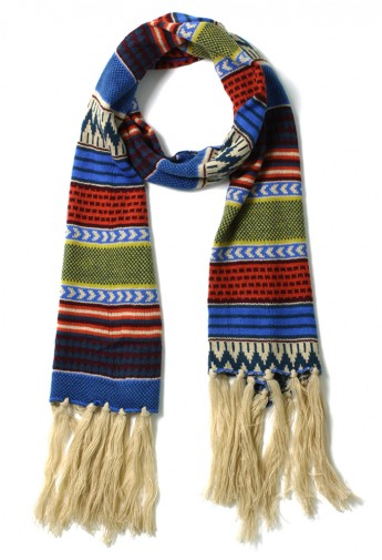 Bohemian Style Fairisle Scarf in Blue - Retro, Indie and Unique Fashion