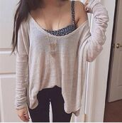 blouse,sweater,knitted sweater,jewelry,jewels,tank top,hipster,fashion,cute,beige,oversized sweater,sweet,loose fit sweater,fine knit jumper,blue,jumper,cream,beach,boho,bohemian,girl,tanned,studded,baggy,cropped,off the shoulder,floral tank top,loose tops,floral,floral bra,bra,bralette,cute outfits,cute dress,nice,nice outfit,girly wishlist,girly outfits tumblr,girly,underwear,style,taupe,sheer top,jeans,i really need all the outfit,shirt,beige shirt,black top
