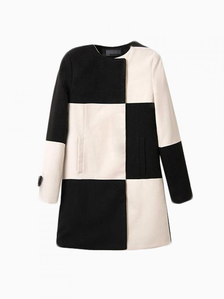 Contrast Color Oversize Chess Coat | Choies