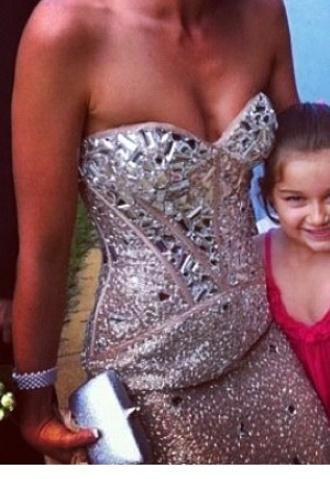 dress prom prom dress diamonds sweetheart neckline strapless dress shiny pretty australia studded beige dress