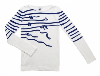 t-shirt white marinière striped shirt bows stars stars and stripes cute