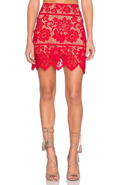 For Love & Lemons skirt mini skirt mini red