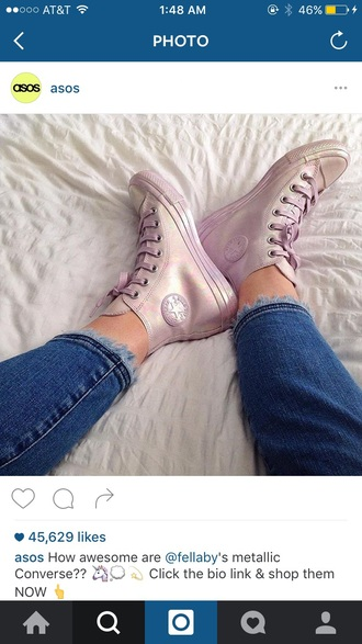 shoes pink high top converse