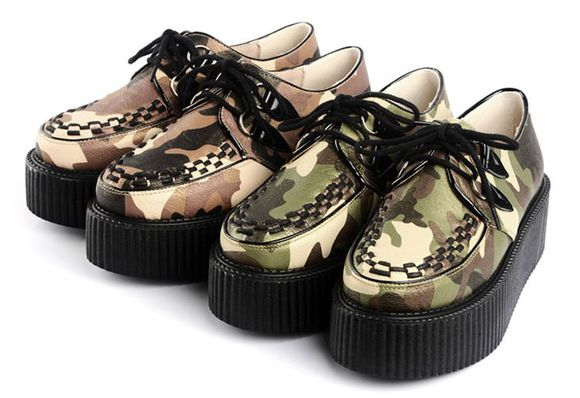 camo military shoes creepers flats fashion clothes platform shoes