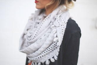 scarf light blue knitted scarf cute sweater gray scarf fringes