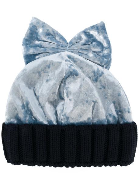 bow beanie blue velvet hat