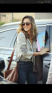 bag,jessica alba,brown,leather bag,brown leather bag,blouse
