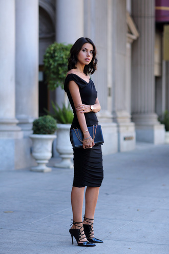 little black dress viva luxury blogger bag jewels asymmetrical lace-up shoes