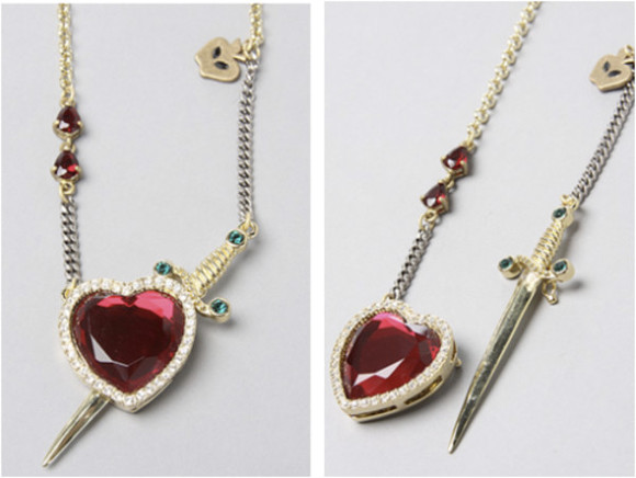 disney snow white jewels necklace sword dagger heart necklace sword neclace