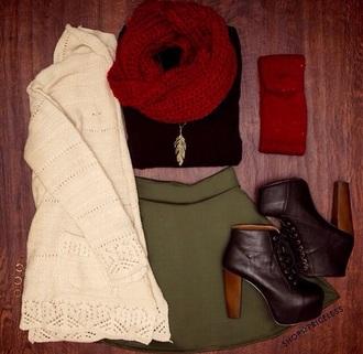 cardigan jewels scarf skirt shoes t-shirt