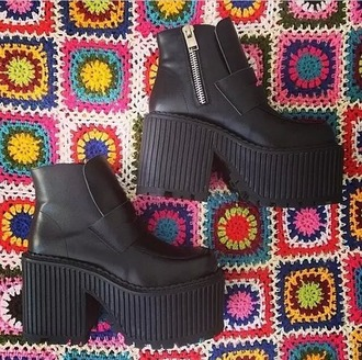 shoes platform boots black shoes black platforms cute platforms black platform shoes creepers buffalo black platform heels