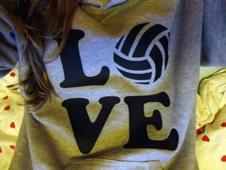 sweater grey sweater gris volleyball capuche