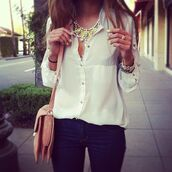 blouse,top,white,silk,jewels,yellow,diamonds,jewelery,gold,perfecto,black and white,black,shirt,necklace