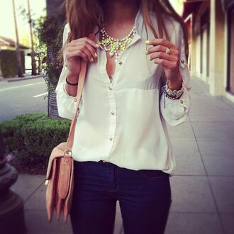 blouse top white silk jewels yellow diamonds jewelery gold perfecto black and white black shirt necklace