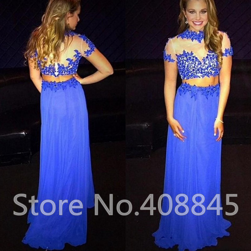 Aliexpress.com : Buy Elegant Royal Blue Two Pieces Prom Dresses ...